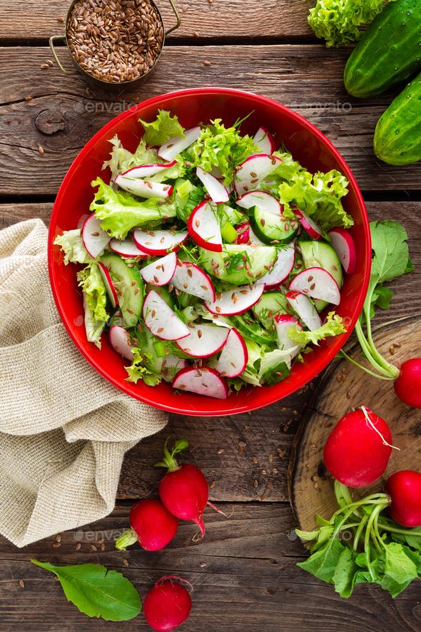 Vegetarian vegetable salad of radish - Stock Photo - Images