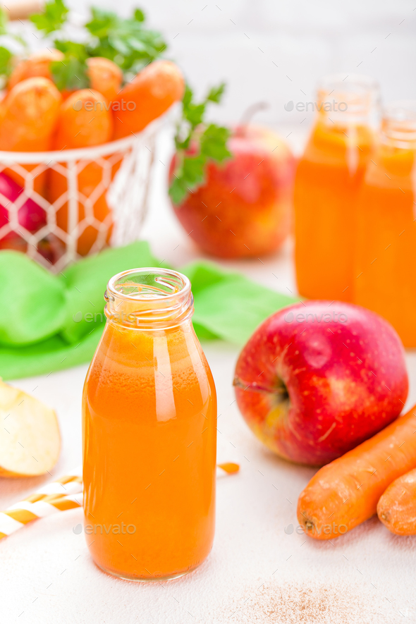Fresh carrot and apple juice - Stock Photo - Images