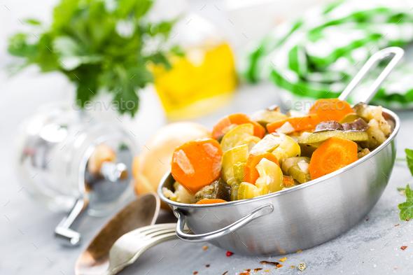 Vegetable stew. Baked vegetables. Vegetarian food - Stock Photo - Images