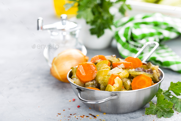 Vegetable stew. Baked vegetables. Vegetarian food - Stock Photo - Images