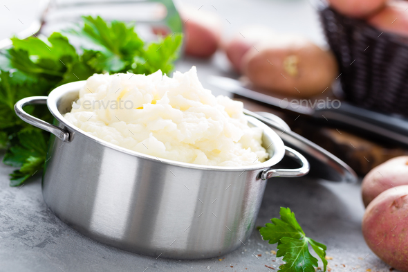 Mashed, mash potato with butter and milk. Potato puree - Stock Photo - Images
