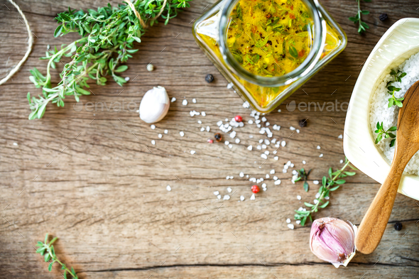 Lemon Vinaigrette with Thyme - Stock Photo - Images