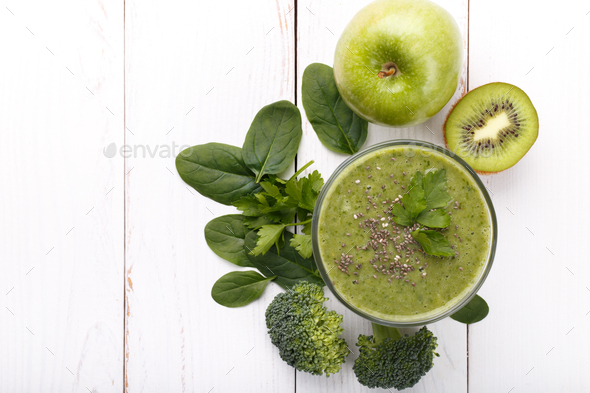 Green detox smoothie - Stock Photo - Images