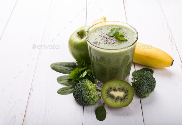 Green detox smoothie - Stock Photo - Images