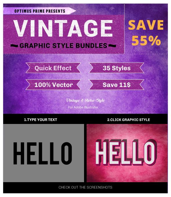 Vintage & Retro Styles Bundle - Illustrator Add-ons
