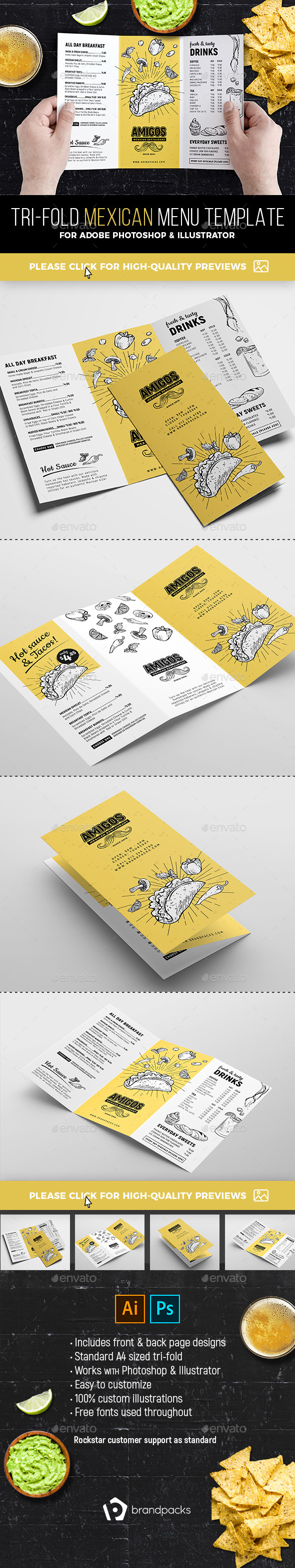 Tri-Fold Mexican Menu Template - Food Menus Print Templates