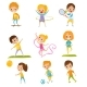Kids Doing Different Kinds of Sports Set