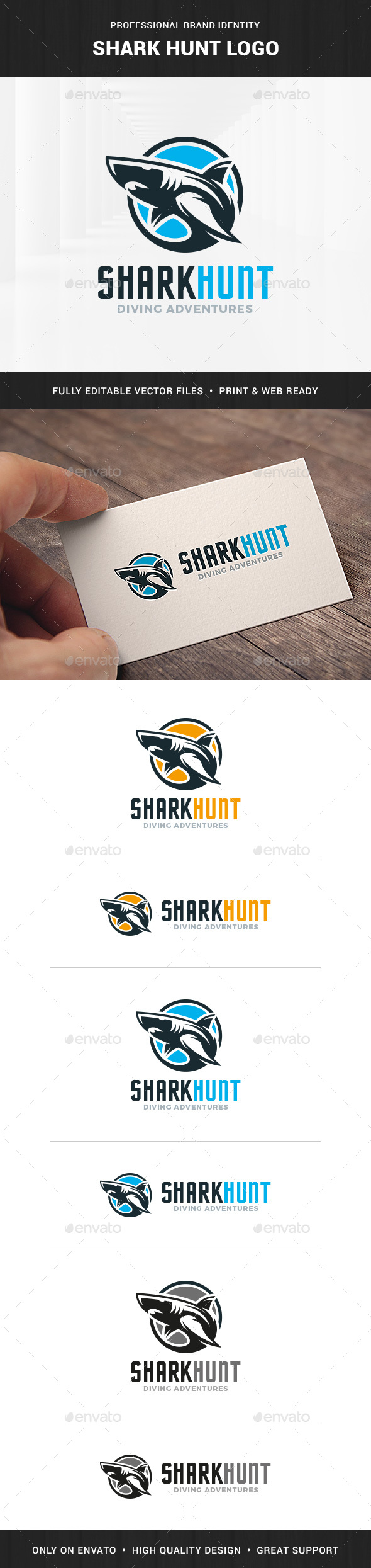 Shark Hunt Logo Template - Animals Logo Templates