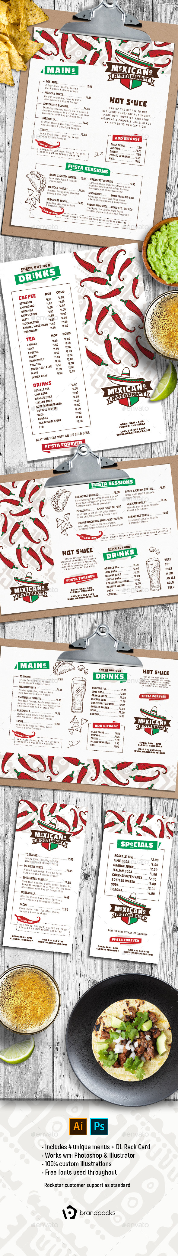 Mexican Menu Templates - Food Menus Print Templates