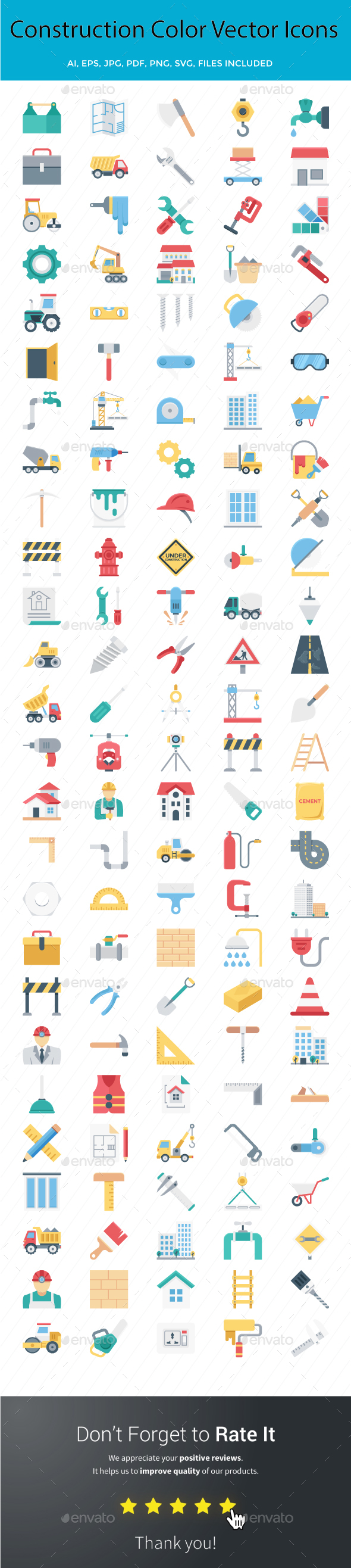 Construction Color Vector Icons Set - Icons