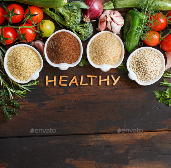 Gluten free grains and vegetables - Stock Photo - Images