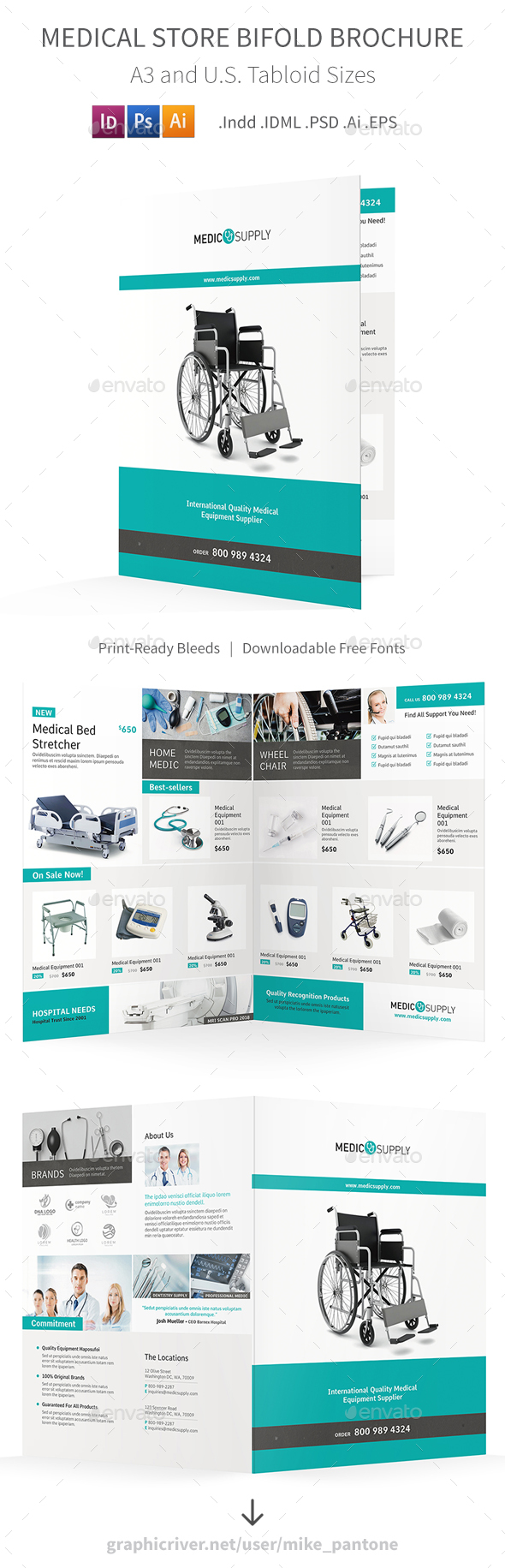 Medical Store Bifold / Halffold Brochure - Informational Brochures