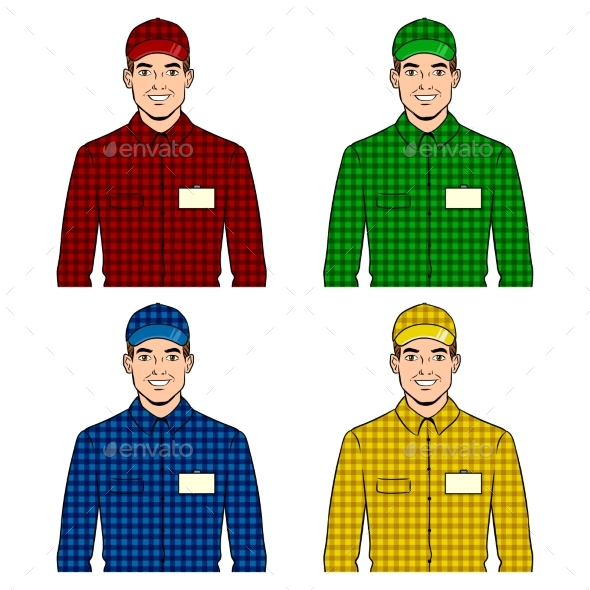 Guy Set Pop Art Vector Illustration - Miscellaneous Vectors