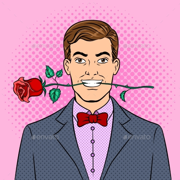 Man with Rose Flower Pop Art Vector Illustration - Flowers & Plants Nature