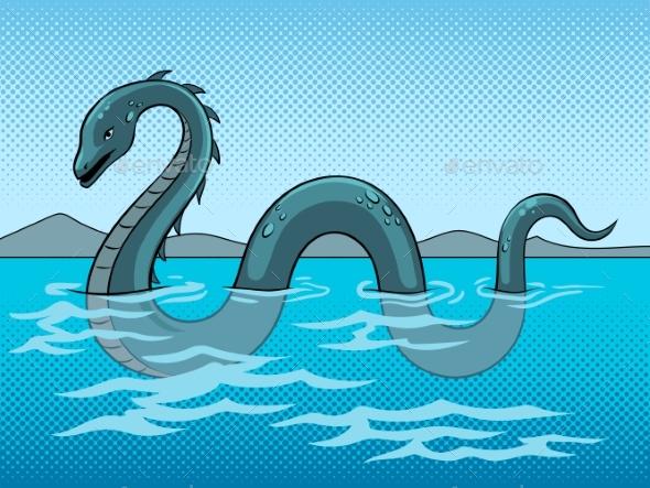Nessie Monster Pop Art Vector Illustration - Animals Characters