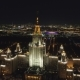 Moscow State University at Night. Russia. Aerial View - VideoHive Item for Sale