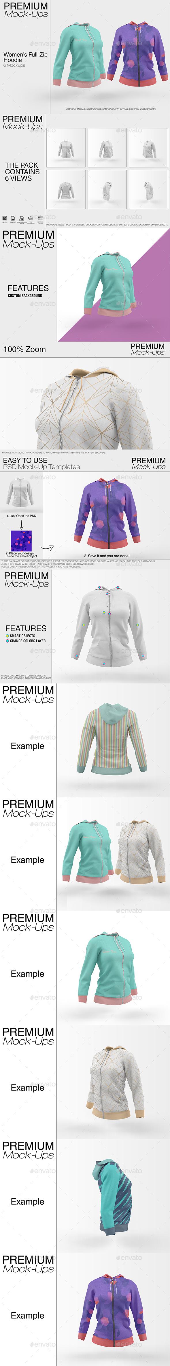 Women's Full-Zip Hoodie Mockup - Print Product Mock-Ups