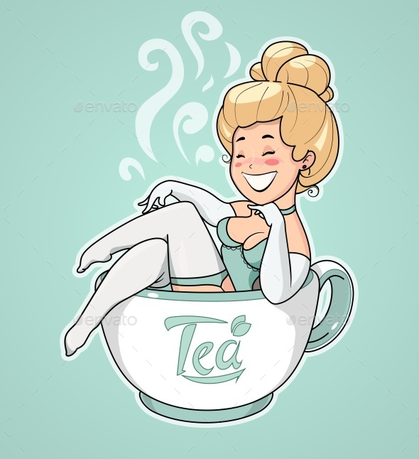 Girl Sits in Tea Cup - People Characters