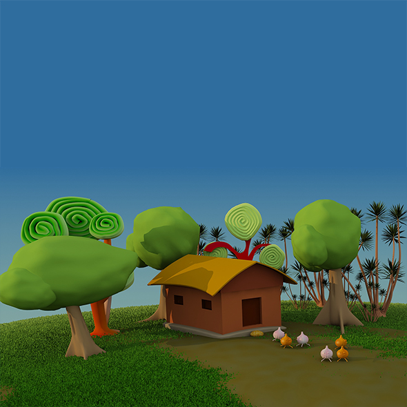 Cartoon House Scene - 3DOcean Item for Sale