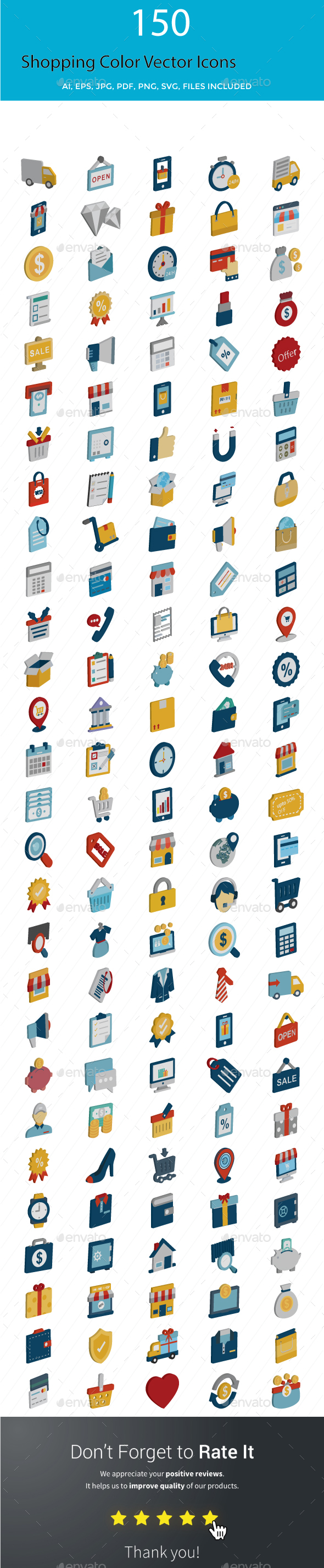 Shopping Color Vector Icons Set - Icons