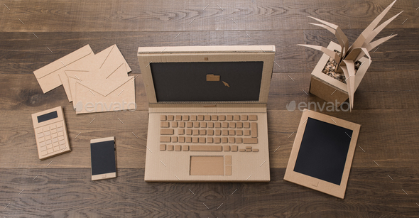 Creative eco friendly cardboard office - Stock Photo - Images