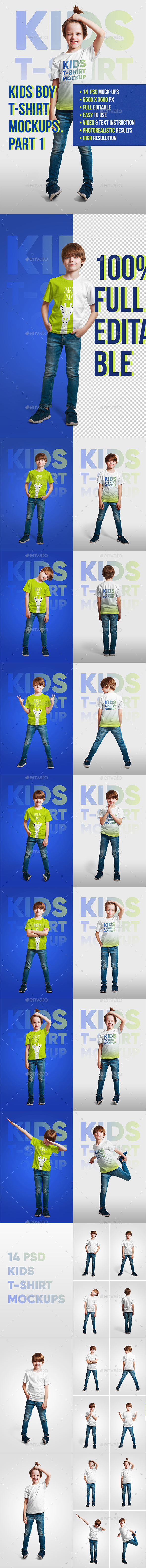 Kids Boy T-Shirt Mockups. Part 1 - T-shirts Apparel