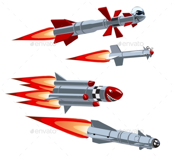 Cartoon Military Missile Set - Man-made Objects Objects