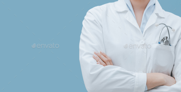 Professional doctor with stethoscope close up - Stock Photo - Images