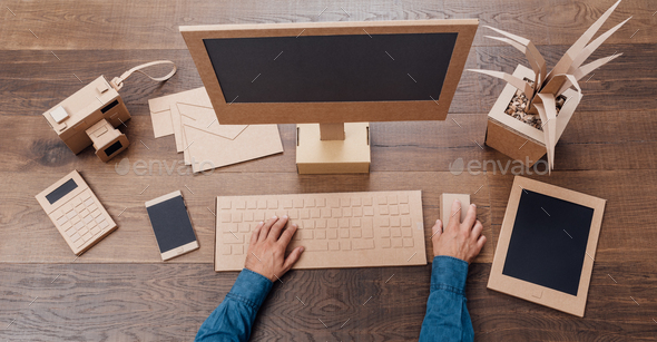Creative eco-friendly cardboard office - Stock Photo - Images