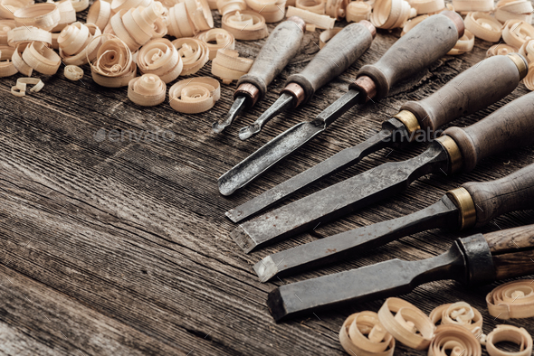 Old carving and woodworking tools - Stock Photo - Images