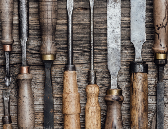 Carpentry tools on the workbench - Stock Photo - Images