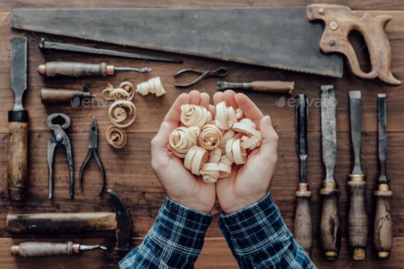 Carpenter holding wood shavings - Stock Photo - Images