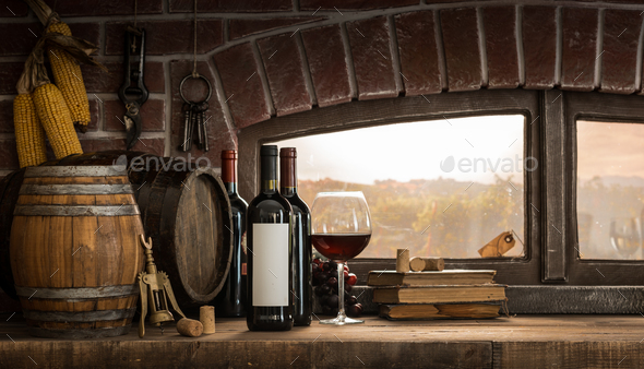 Rustic wine cellar in the countryside - Stock Photo - Images