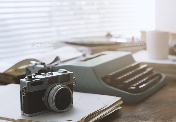 Writer and journalist vintage desktop with typewriter - Stock Photo - Images
