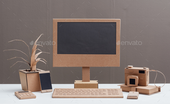 Eco-friendly creative cardboard office - Stock Photo - Images