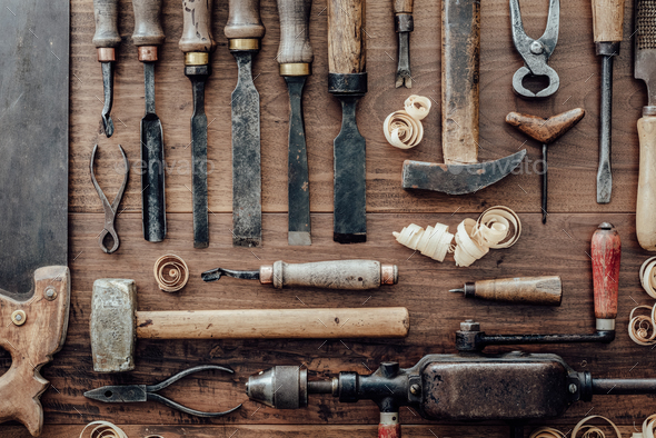 Vintage woodworking tools on the workbench - Stock Photo - Images