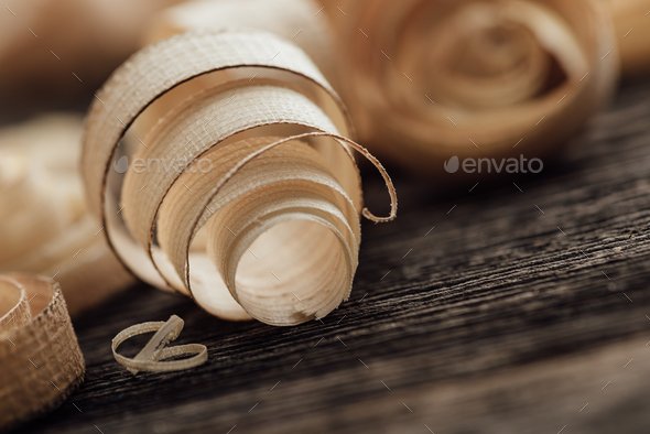 Wood shavings on the carpenter's workbench - Stock Photo - Images