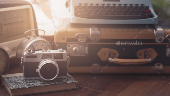 Vintage objects on a desk - Stock Photo - Images