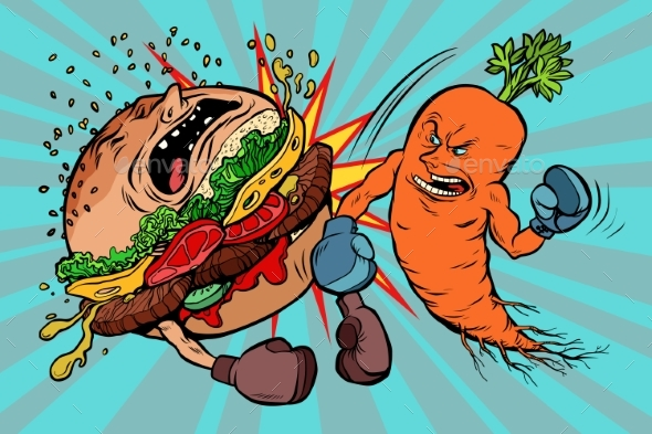 Carrots Beats a Burger Vegetarianism Vs Fast Food - Food Objects