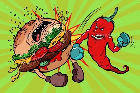 Pepper Beats Burger Vegetarianism Vs Fast Food - Food Objects