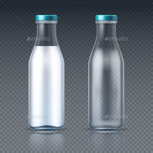 Glass Beverage Bottles Empty and with Milk - Food Objects