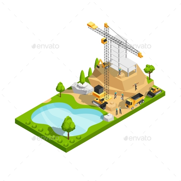 Commercial Building Construction 3d Isometric - Buildings Objects