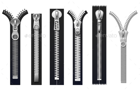 Clothing Fasteners Metal Zippers Isolated Vector - Man-made Objects Objects