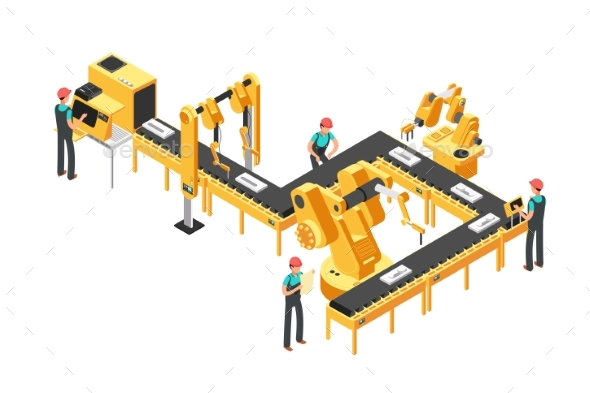 Automated Production Line, Factory Conveyor  - Objects Vectors