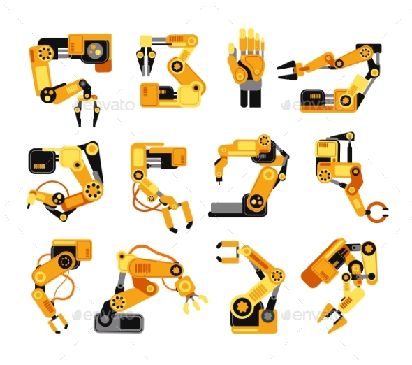 Industrial Robotic Arms Manufacture Technology - Objects Vectors