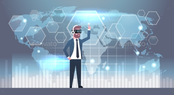 Business Man Wearing 3d Glasses Using Futuristic - People Characters