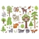 Big Set of Wild Forest Animals Birds and Trees - GraphicRiver Item for Sale
