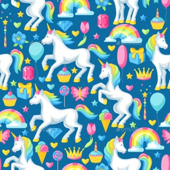 Seamless Pattern with Unicorns and Fantasy Items - Birthdays Seasons/Holidays