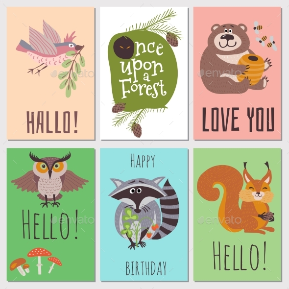 Once Upon Forest Cards Collection. - Miscellaneous Vectors