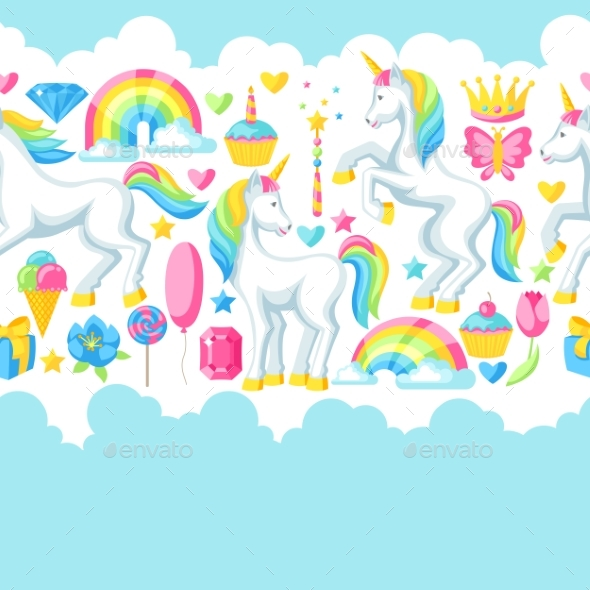 Seamless Pattern with Unicorns and Fantasy Items - Birthdays Seasons/Holidays